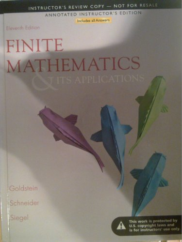 9780321878328: Finite Mathematics and Its Applications (Annotated Instructors Edition)