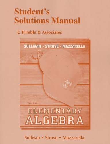 9780321879912: Student's Solutions Manual for Elementary Algebra
