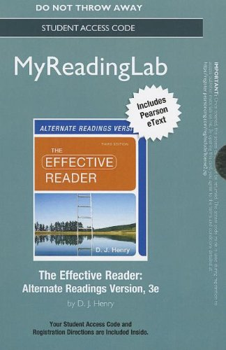 9780321882264: NEW MyReadingLab with Pearson eText -- Standalone Access Card -- for The Effective Reader, Alternate Edition (3rd Edition) (Myreadinglab (Access Codes))