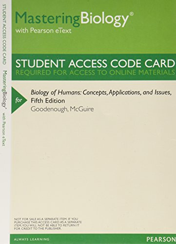 9780321886637: MasteringBiology with Pearson eText -- ValuePack Access Card -- for Biology of Humans: Concepts, Applications, and Current Issues