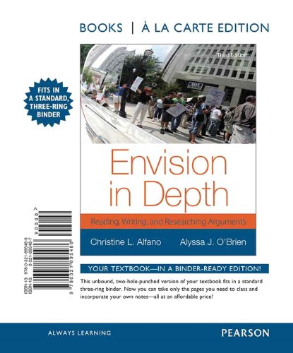 9780321895486: Envision in Depth: Reading, Writing and Researching Arguments, Books a la Carte Edition (3rd Edition)