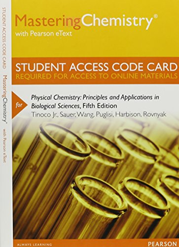 9780321898166: MasteringChemistry with Pearson eText -- Standalone Access Card -- for Physical Chemistry: Principles and Applications in Biological Sciences with MasteringChemistry (5th Edition)