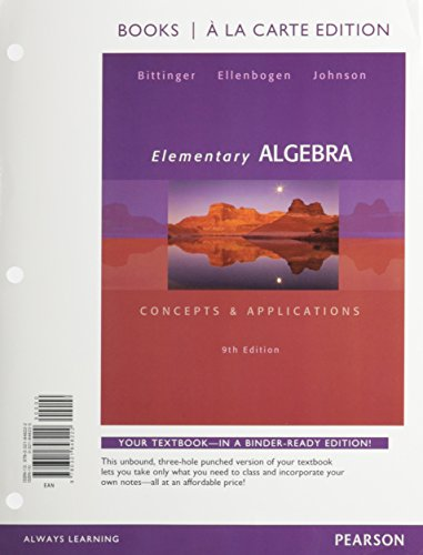 Elementary Algebra Concepts and Applications: Bittinger, Marvin L.
