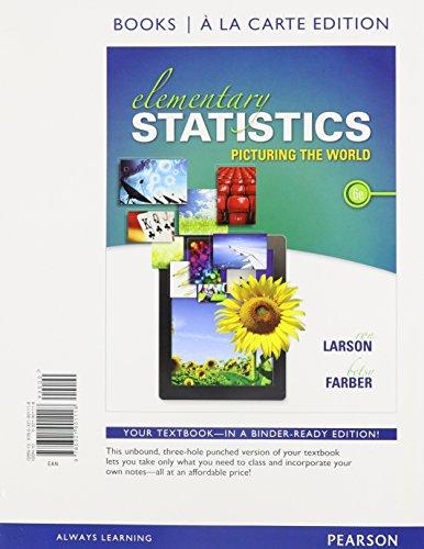 9780321901118: Elementary Statistics: Picturing the World, Books a la Carte Edition (6th Edition)