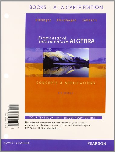 9780321901163: Elementary and Intermediate Algebra: Concepts & Applications, Books a la Carte edition plus MyMathLab with Pearson eText -- Access Card Package (6th Edition)