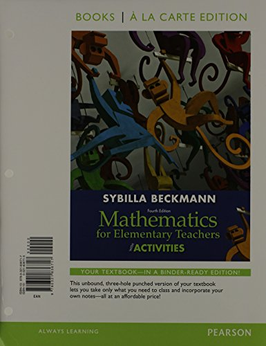 9780321901200: Mathematics for Elementary Teachers with Activities, Books a la Carte Edition Plus MyMathLab -- Access Card Package (4th Edition)