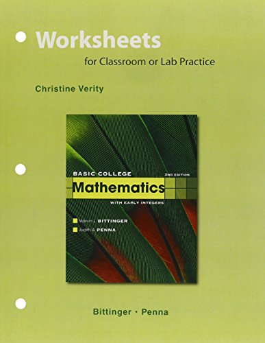 9780321904423: Worksheets for Basic College Mathematics with Early Integers Plus MyMathLab Student Value Pack (4th Edition)