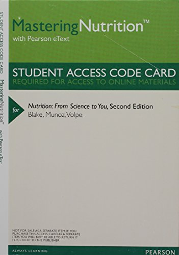 9780321906823: MasteringNutrition with MyDietAnalysis with Pearson eText -- ValuePack Access Card -- for Nutrition: From Science to You