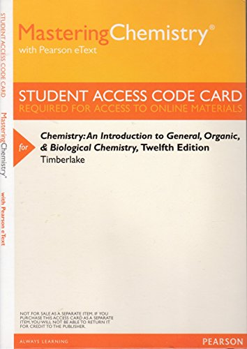 9780321909244: MasteringChemistry with Pearson eText -- ValuePack Access Card -- for Chemistry: An Introduction to General, Organic, and Biological Chemistry