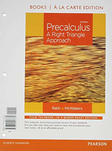9780321912794: Precalculus: A Right Triangle Approach, Books a la Carte Edition plus NEW MyMathLab with Pearson eText -- Access Card Package (3rd Edition)