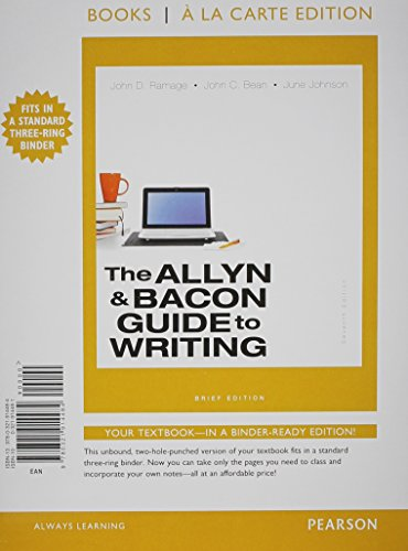 9780321914484: The Allyn & Bacon Guide to Writing, Brief Edition, Books a la Carte Edition (7th Edition)