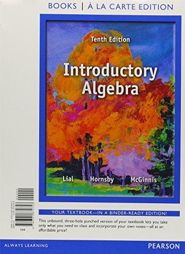 Introductory Algebra, -- (10th Edition) [Mar 04,