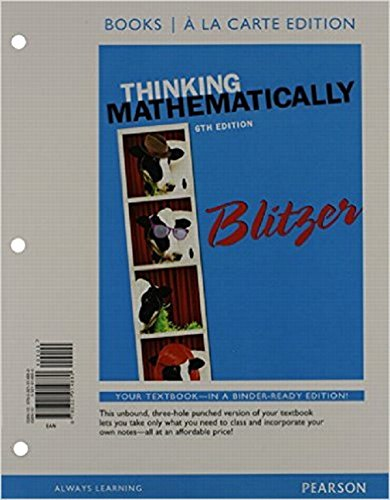 9780321914880: Thinking Mathematically, Books a la carte Edition (6th Edition)