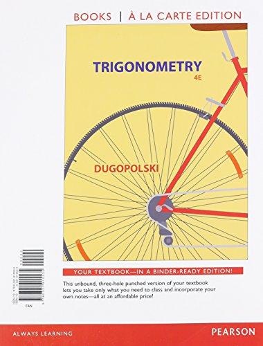9780321915535: Trigonometry, Books a la Carte Edition (4th Edition)