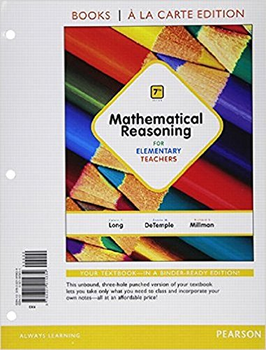 9780321915634: Mathematical Reasoning for Elementary Teachers, Books a la carte Edition (7th Edition)