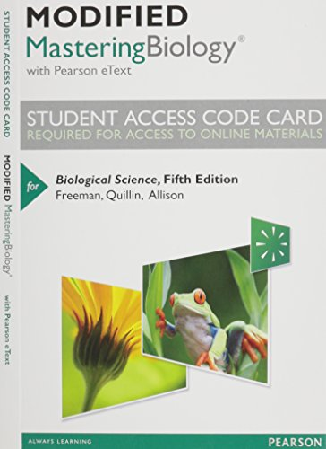 9780321917577: Modified MasteringBiology with Pearson eText -- Standalone Access Card -- for Biological Science (5th Edition)