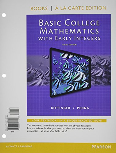 9780321922786: Basic College Mathematics with Early Integers, Books a la Carte Edition (3rd Edition)