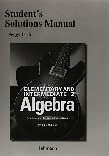 9780321923318: Student Solutions Manual for Elementary & Intermediate Algebra