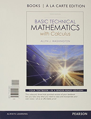 9780321924988: Basic Technical Mathematics with Calculus, Books a la Carte Edition (10th Edition)