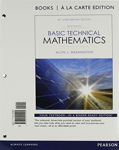 9780321924995: Basic Technical Mathematics, Books a la Carte Edition (10th Edition)
