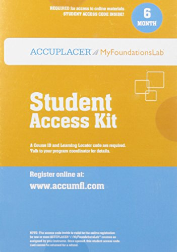 9780321925688: Accuplacer/MyLab Foundational Skills without Pearson eText -- Standalone Access Card (6-month access)
