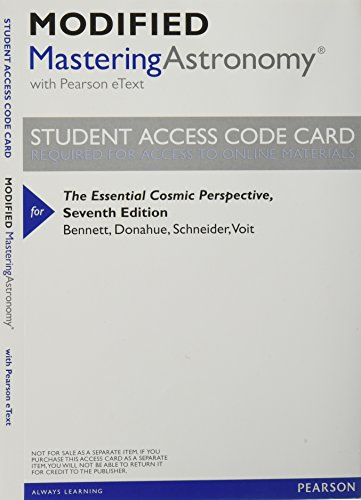 9780321928511: Modified MasteringAstronomy with Pearson eText -- ValuePack Access Card -- for The Essential Cosmic Perspective
