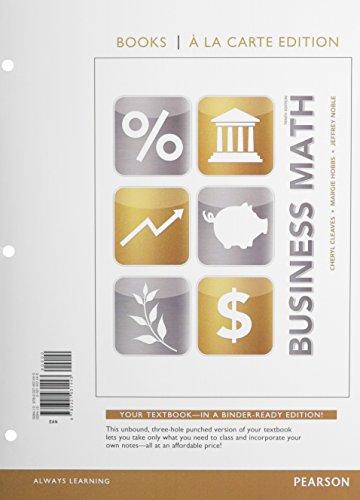 9780321931443: Business Math, Books a la Carte Edition (10th Edition)