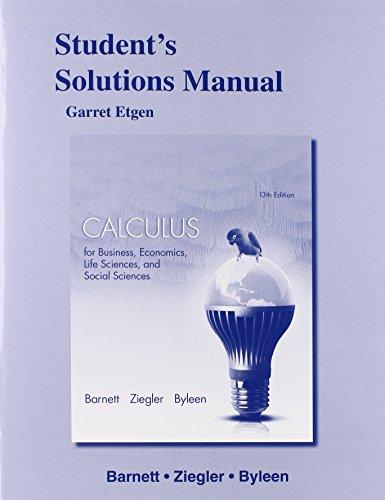 9780321931733: Student's Solutions Manual for Calculus for Business, Economics, Life Sciences & Social Sciences