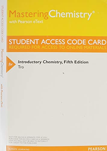 9780321934598: MasteringChemistry with Pearson eText -- Standalone Access Card -- for Introductory Chemistry (5th Edition)