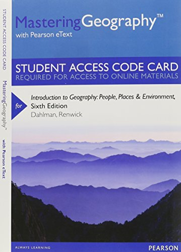 9780321939500: MasteringGeography with Pearson eText -- Standalone Access Card -- for Introduction to Geography: People, Places & Environment (6th Edition)