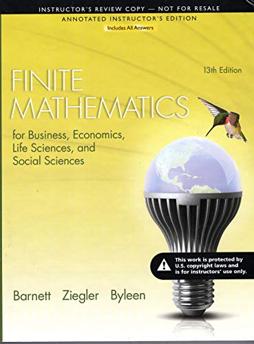 9780321946171: Finite Mathematics-Insructor's Review Copy - Annotated Instructor's Edition