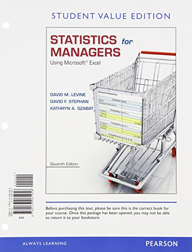 9780321946607: Statistics for Managers Using Microsoft Excel, Student Value Edition Plus NEW MyStatLab with Pearson eText -- Access Card Package (7th Edition)