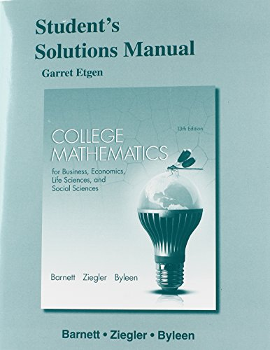 9780321946775: Student's Solutions Manual for College Mathematics for Business, Economics, Life Sciences and Social Sciences