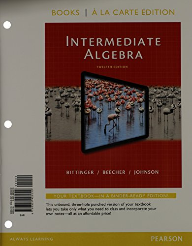 9780321951762: Intermediate Algebra, Books a la Carte Edition, Plus MyMathLab -- Access Card Package (12th Edition)