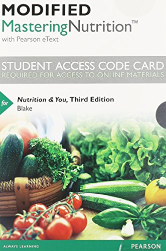 9780321960870: Modified MasteringNutrition with MyDietAnalysis with Pearson eText -- Standalone Access Card -- for Nutrition & You (3rd Edition)