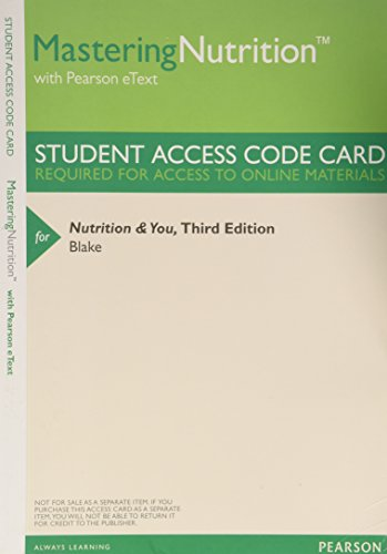 9780321961556: MasteringNutrition with MyDietAnalysis with Pearson eText -- ValuePack Access Card -- for Nutrition and You