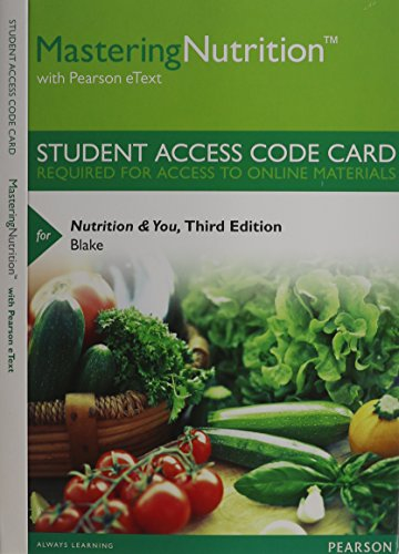 9780321962188: MasteringNutrition with MyDietAnalysis with Pearson eText -- Standalone Access Card -- for Nutrition & You (3rd Edition)