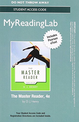 9780321966148: NEW MyReadingLab with Pearson eText -- Standalone Access Card -- for The Master Reader (4th Edition)
