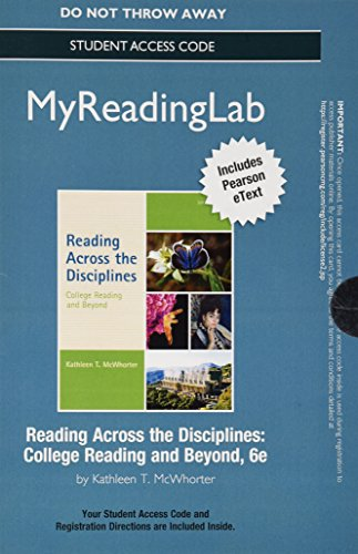 9780321966216: Reading Across the Disciplines New Myreadinglab With Pearson Etext Standalone Access Card: College Reading and Beyond