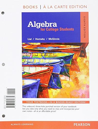 9780321969385: Algebra for College Students, Books a la Carte Edition (8th Edition)
