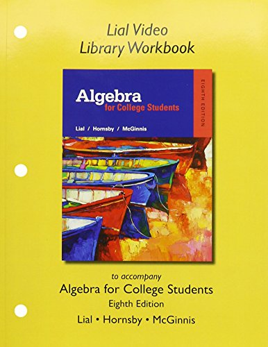 9780321969835: Lial Video Library Workbook for Algebra for College Students