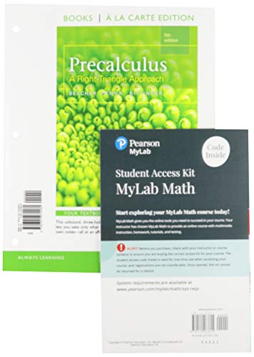 9780321970060: Precalculus: A Right Triangle Approach, Books a la Carte Edition (5th Edition)