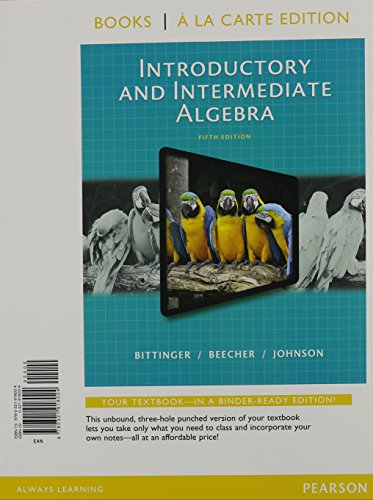 9780321970169: Introductory and Intermediate Algebra, Books a la Carte Edition, Plus MyMathLab -- Access Card Package (5th Edition)