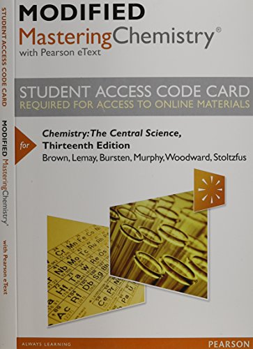 9780321972552: Modified MasteringChemistry with Pearson eText -- Standalone Access Card -- for Chemistry: The Central Science (13th Edition)