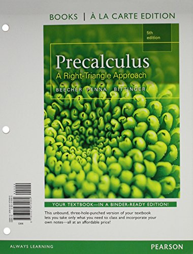 9780321973467: Precalculus: A Right Triangle Approach, Books a la Carte Edition plus MyLab Math with Pearson etext, Access Card Package (5th Edition)