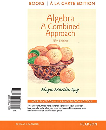 9780321978554: Algebra: A Combined Approach, Books a la Carte Edition (5th Edition)
