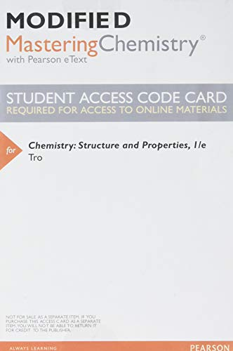 9780321982780: Modified MasteringChemistry with Pearson eText -- ValuePack Access Card -- for Chemistry: Structure and Properties