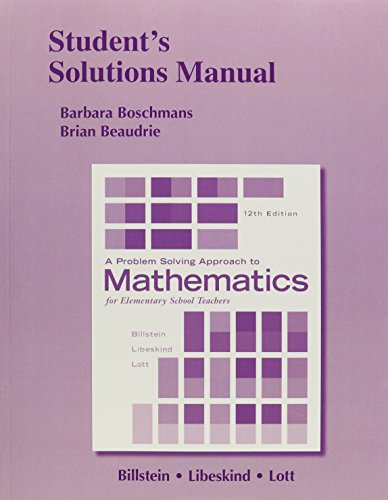 9780321990563: Student's Solutions Manual for A Problem Solving Approach to Mathematics for Elementary School Teachers