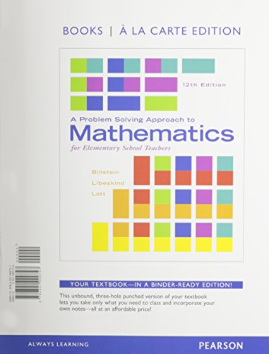 9780321990747: A Problem Solving Approach to Mathematics for Elementary School Teachers, Books a la Carte Edition (12th Edition)