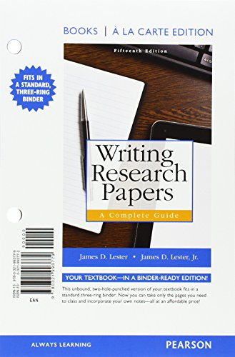 9780321996312: Writing Research Papers: A Complete Guide, Books a la Carte Edition Plus Mywritinglab with Pearson Etext -- Access Card Package